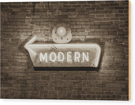 Modern Arrow Neon Sign On Brick Wall - Sepia Edition Wood Print