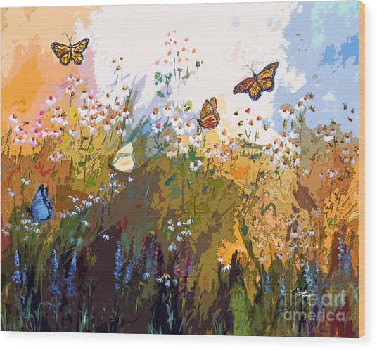 Modern Chamomille And Butterflies Wood Print