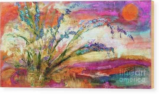 Modern Expressive Floral Landscape Wood Print