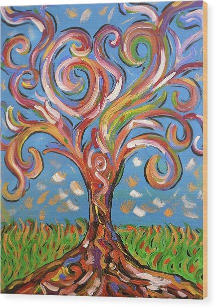 Modern Impasto Expressionist Painting  Wood Print