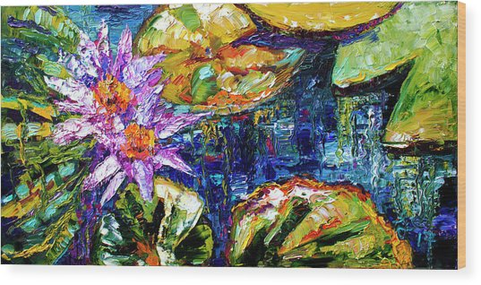 Modern Impressionist Lily Pond Reflections Wood Print