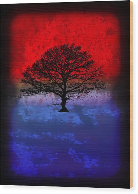 Modern Paintings Abstract Tree Wall Art Wood Print by Robert R Splashy Art