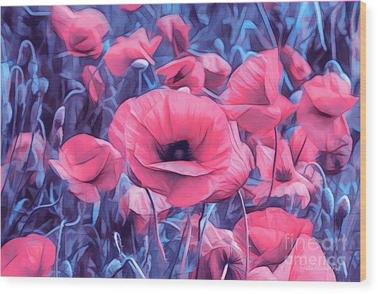 Modern Poppies Wood Print