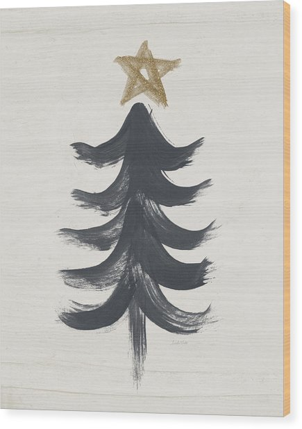 Modern Primitive Black And Gold Tree 1- Art By Linda Woods Wood Print