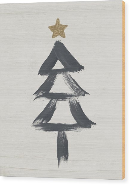 Modern Primitive Black And Gold Tree 2- Art By Linda Woods Wood Print