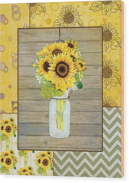 Modern Rustic Country Sunflowers In Mason Jar Wood Print