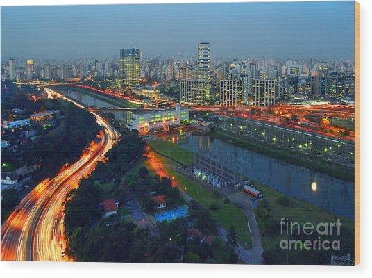 Modern Sao Paulo Skyline - Cidade Jardim And Marginal Pinheiros Wood Print