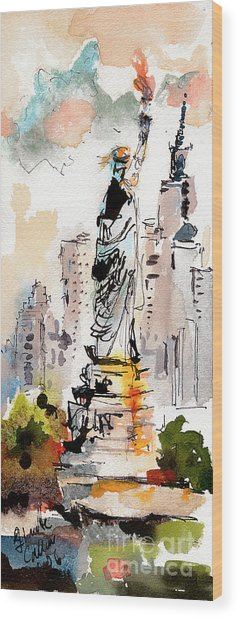 Modern Statue Of Liberty New York Watercolor Wood Print