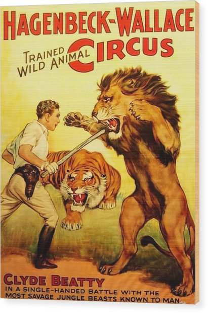 Modern Vintage Circus Poster Wood Print