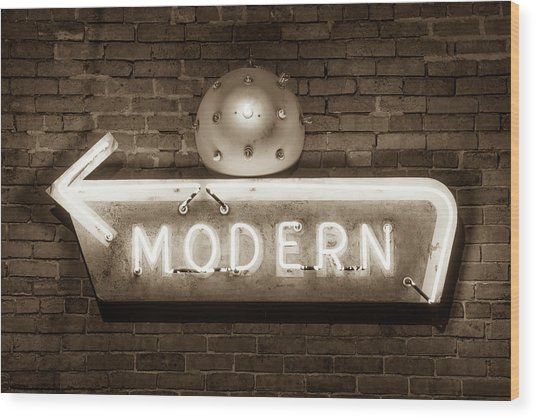 Modern Vintage Neon Sign - Bentonville - Arkansas - Usa Wood Print