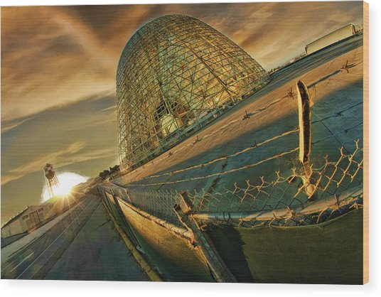Moffett Field Hangar One At Dusk Wood Print