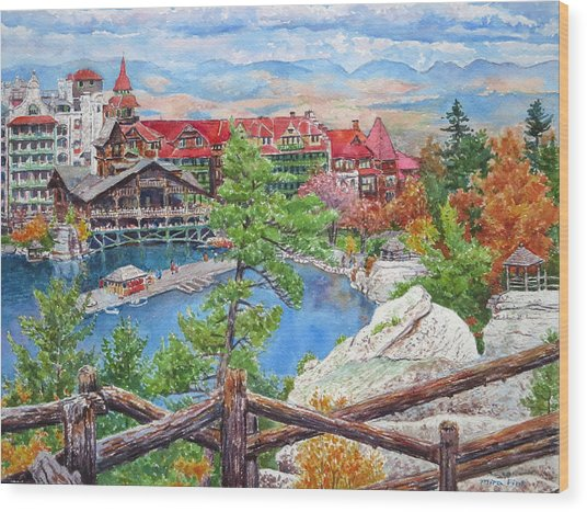 Mohonk Fall View From Cliffs Wood Print by Mira Fink