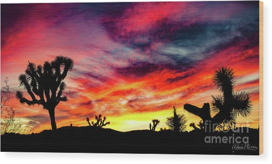 Mojave Sunset Wood Print