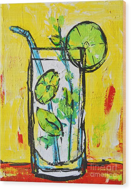 Mojito - Latin Tropical Drink Modern Art Wood Print