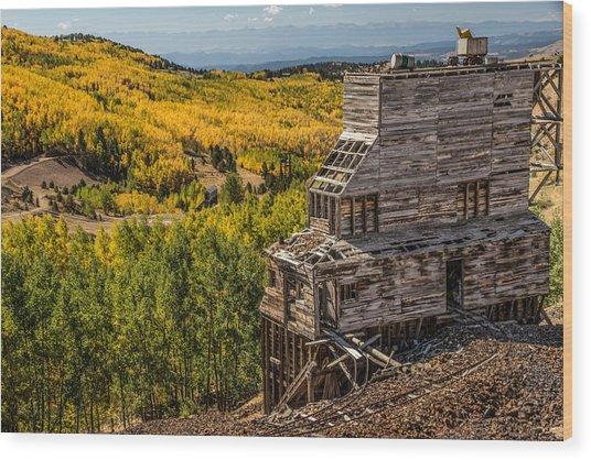 Mollie Kathleen Gold Mine In Autumn Wood Print