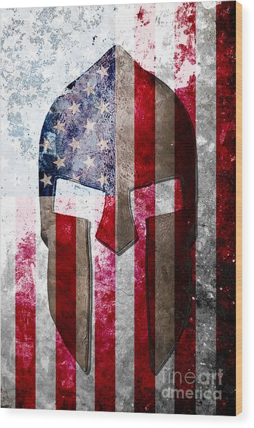 Molon Labe - Spartan Helmet Across An American Flag On Distressed Metal Sheet Wood Print