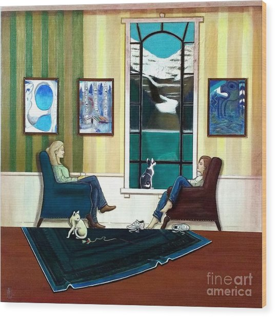 Mom And Daughter Sitting In Chairs With Sphynxes Wood Print