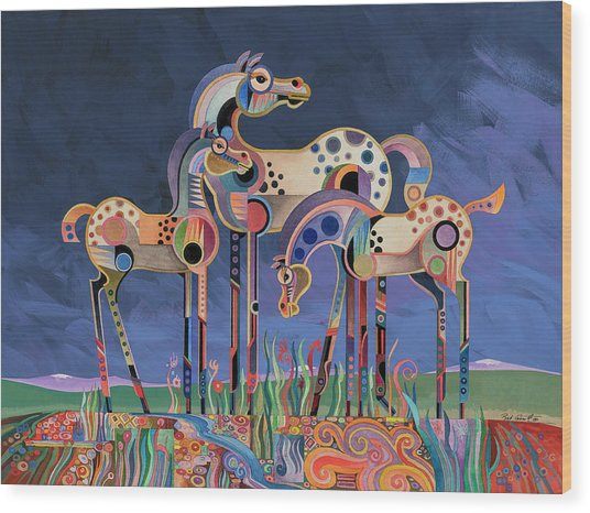 Mom And Foals Wood Print