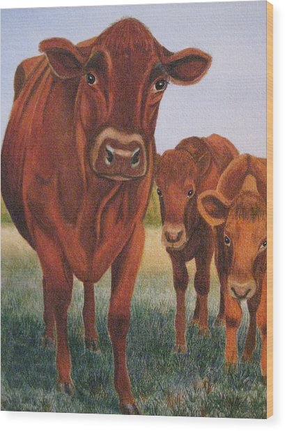 Mom And The Kids Wood Print by Barbara Pascal