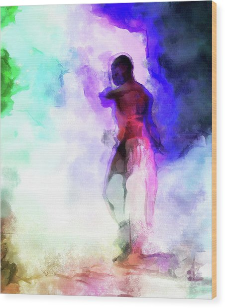 Moment In Blue - African Dancer Wood Print