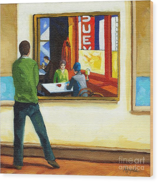 Moments With Hopper - Portrait Oil Painting Wood Print