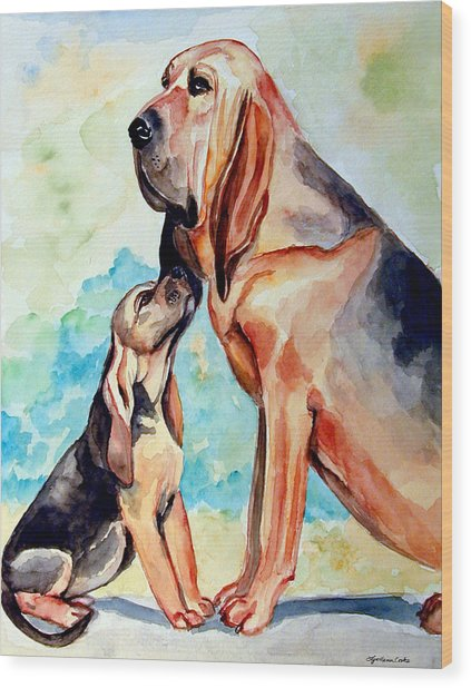 Mom's Day - Bloodhound Wood Print