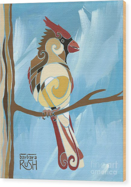 Moms Day Off Female Cardinal Painting Wood Print