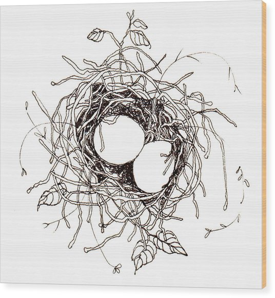 Moms Nest Wood Print by Deborah Wetschensky