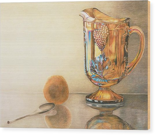 Mom's Orange Juice Pitcher Wood Print by Charlotte Yealey