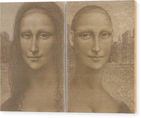 Mona Lisa Past And Present Wood Print by Gary Kaemmer