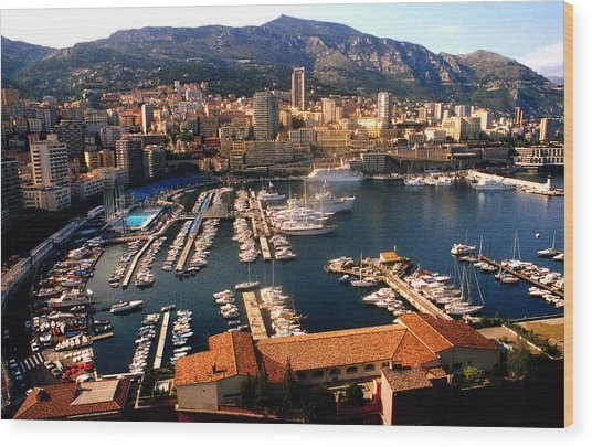 Monaco Harbor Wood Print