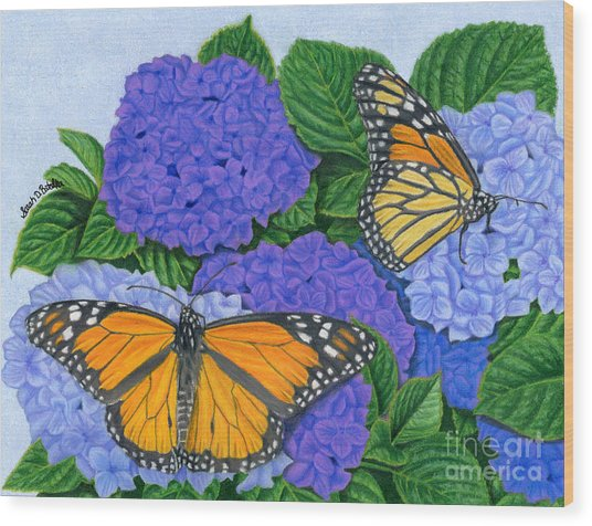 Monarch Butterflies And Hydrangeas Wood Print