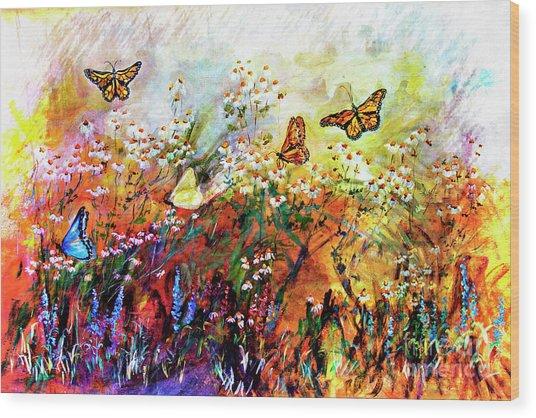 Monarch Butterflies In Garden Wood Print