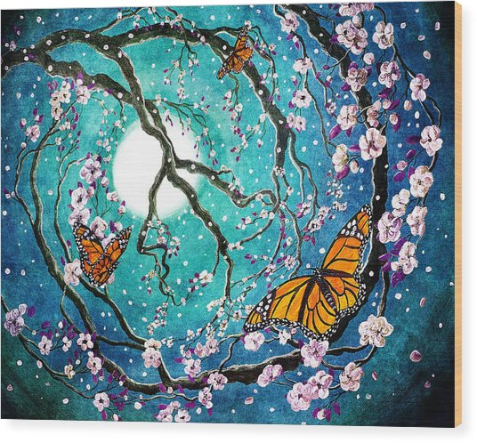 Monarch Butterflies In Teal Moonlight Wood Print
