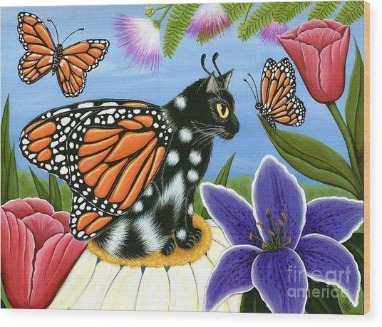 Monarch Butterfly Fairy Cat Wood Print