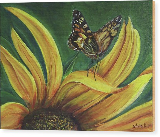 Monarch Butterfly On A Sunflower Wood Print by Silvia Philippsohn