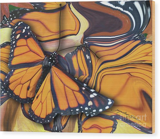 Monarch Flight Wood Print