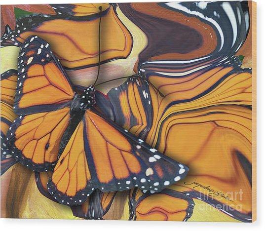 Monarch Flight Wood Print