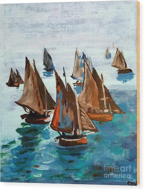 Monet Fishing Boats Calm Seas Wood Print