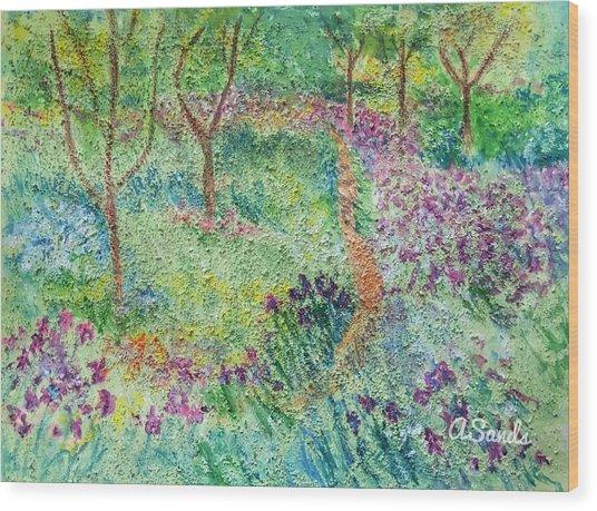 Monet Inspired Iris Garden Wood Print
