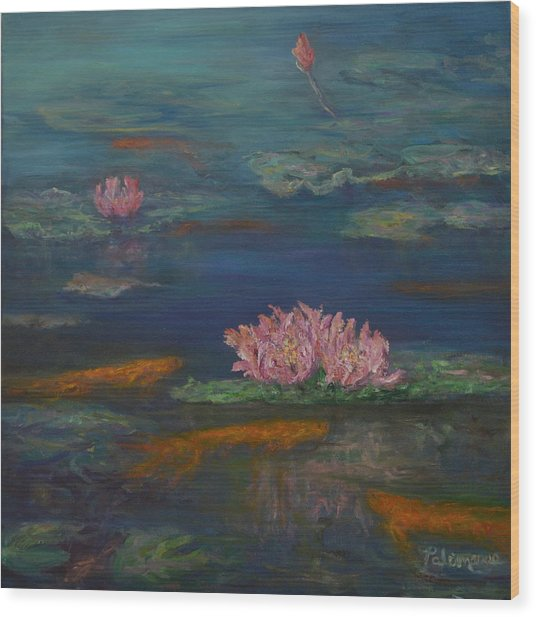 Monet Inspired Water Lilies With Gold Fish In A Pond Wood Print