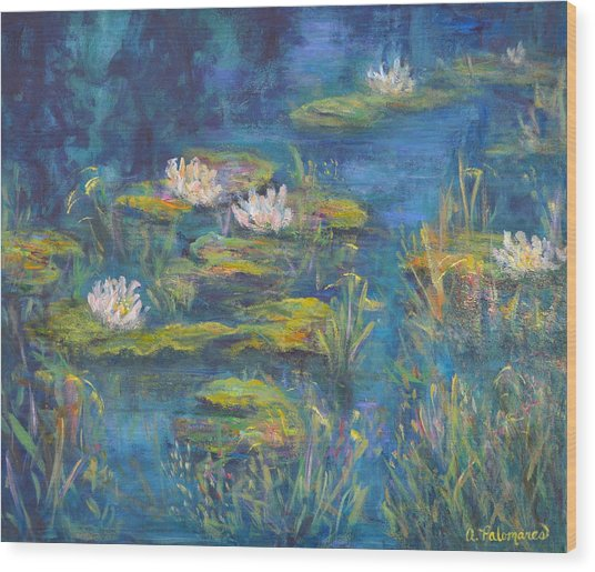 Monet Style Water Lily Marsh Wetland Landscape Painting Wood Print