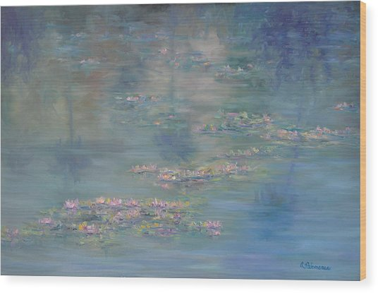 Monet Style Water Lily Peaceful Tropical Garden Painting Print Wood Print