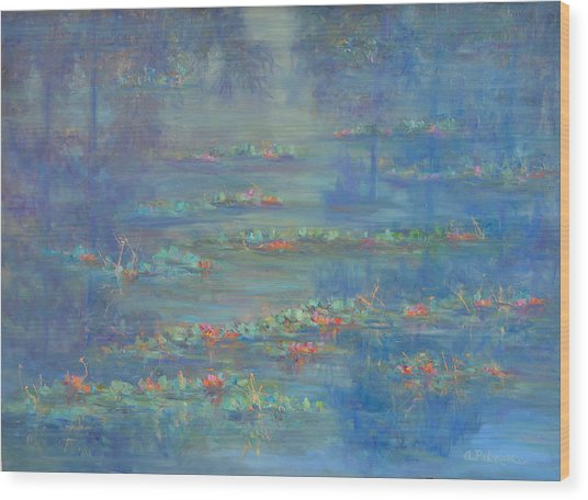 Monet Style Water Lily Pond Landscape Painting Wood Print