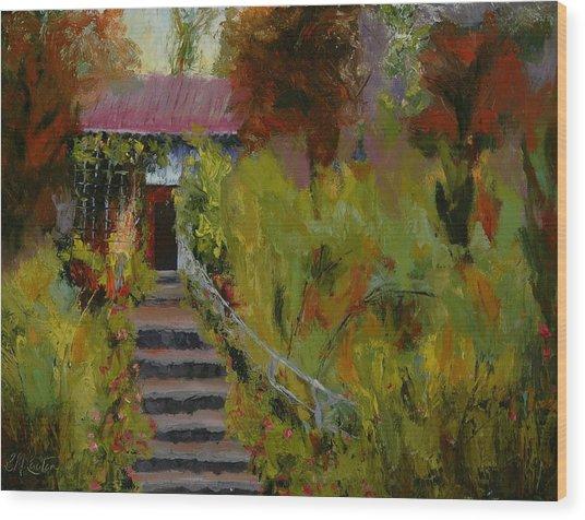 Monet's Garden Cottage Wood Print by Colleen Murphy