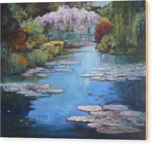 Monet's Garden In Giverny Wood Print