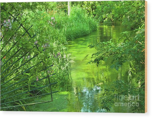 Monet's Green Garden Wood Print