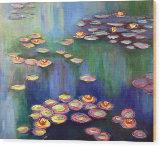 Monet's Lily Pads Wood Print