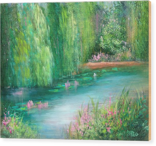Monet's Pond Wood Print by Sally Seago