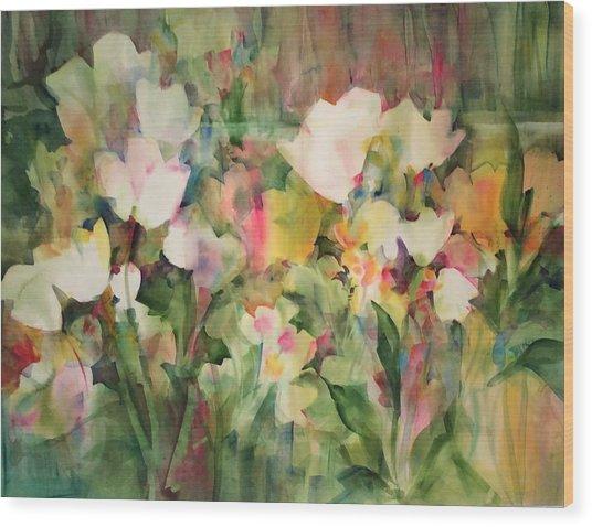 Monet's Tulips Wood Print